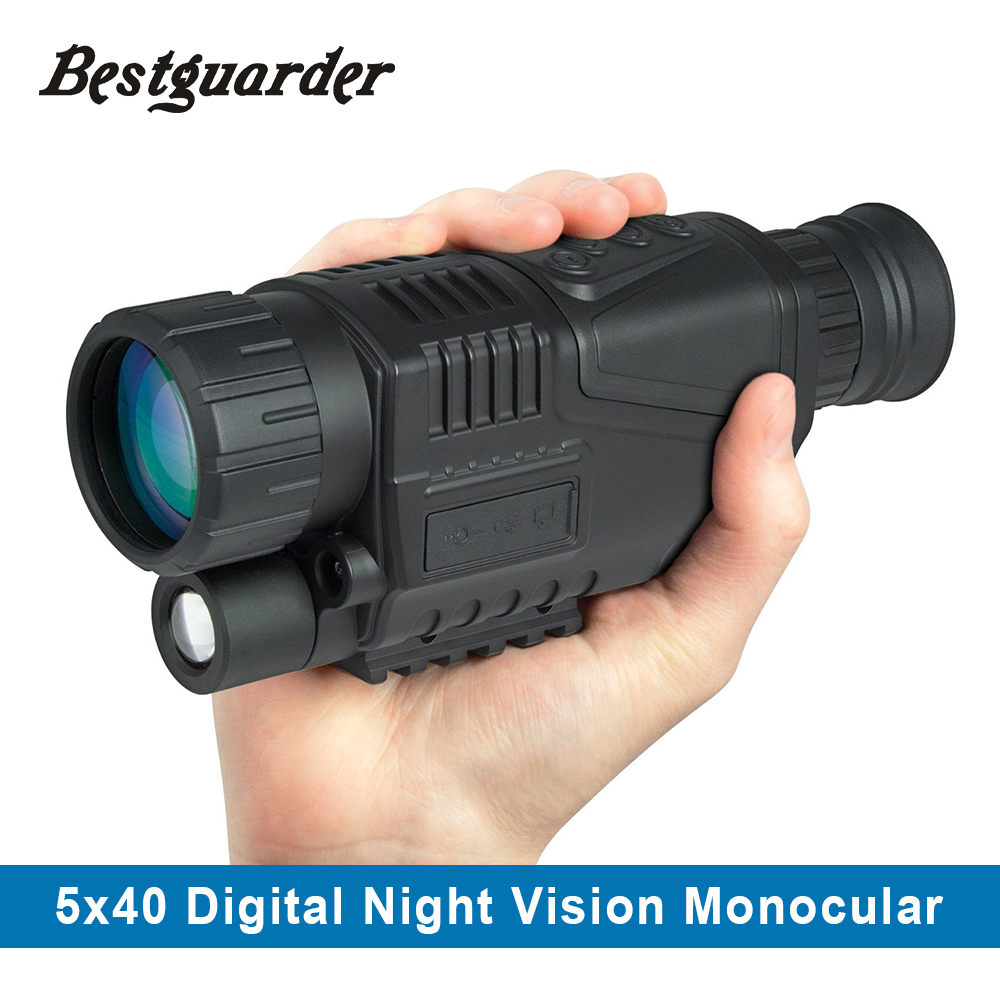 5MP 5x40 Digital Night Vision Monocular 200m Range Takes Photos Video 1.44 TFT LCD IR Infrared Scope 4GB SD Card+One Battery