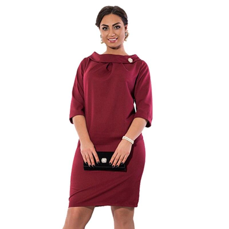 31534bc82d3 2017 Plus Size Summer Dress Big Size Casual Straight Solid Half Sleeve O- Neck 6XL Dress 5XL Office Dress Female Women Dress