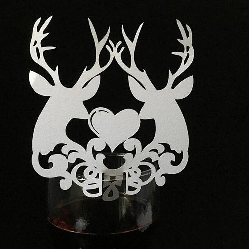 50 Stuks Laser Gesneden Kerst Herten Escort Tafel Wijnglas Naam Plaats Kaarten Kerstcadeaus Card Xmas Event Partij Gunst Levert