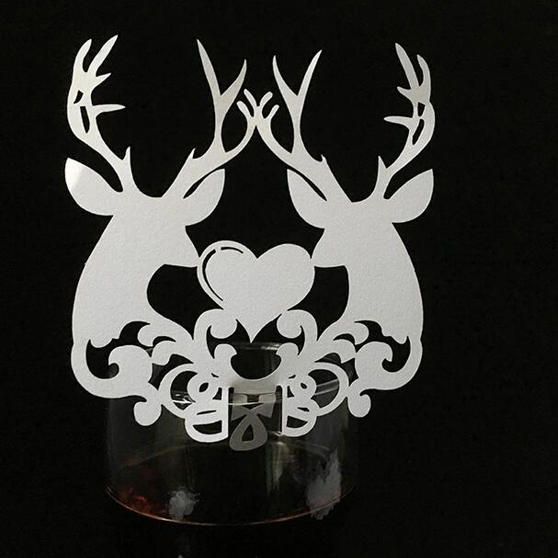 50pcs Laser Cut Christmas Deer Escort Table Wine Glass Name Place Cards Christmas Gifts Card Xmas Event Party Favor Supplies image