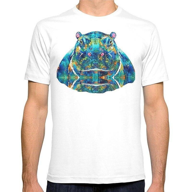 Tee Shirt 2018 New Tee Shirts Printing Crew Neck Short-Sleeve Top Mens Hippopotamus Art - Happy Hippo - By Sharon T Shi