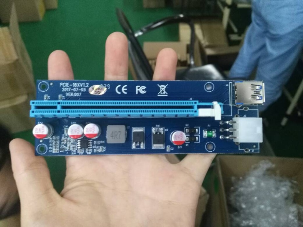 Ver 007 PCIe PCI-E PCI Express Riser Card X1 to X16 USB 3.0 cable adapter for BTC Miner Machine адаптер raiser card ver 9