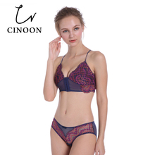 Fashion Ultra-thin Front Closure Lingerie Sexy Floral Underwear Women Flower Lace Bra Set Wireless Women bralette