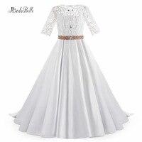 Modabelle Weiße Lange Ballkleid Perlen Mädchen Kommunion Kleid 2018 Kurzen Ärmeln kinder Satin Blume Mädchen Kleider Für Hochzeiten