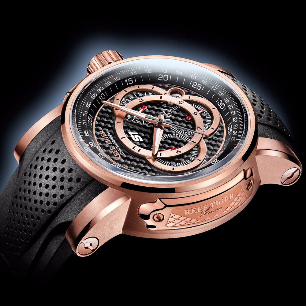 2019 Reef Tiger/RT relojes deportivos de diseño para hombres reloj de cuarzo de oro rosa con cronógrafo y reloj de fecha hombre RGA3063 - 3