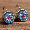 Yoga mandala vintage enamel flower earring jewelry for om symbol Zen Buddhism for a single pair of earrings earrings henna EF9
