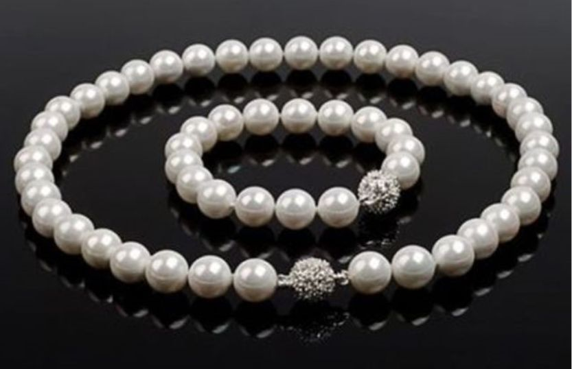 Charming 10-11 mm Tahitian white AAA Pearl Bracelet + Necklace 18Charming 10-11 mm Tahitian white AAA Pearl Bracelet + Necklace 18