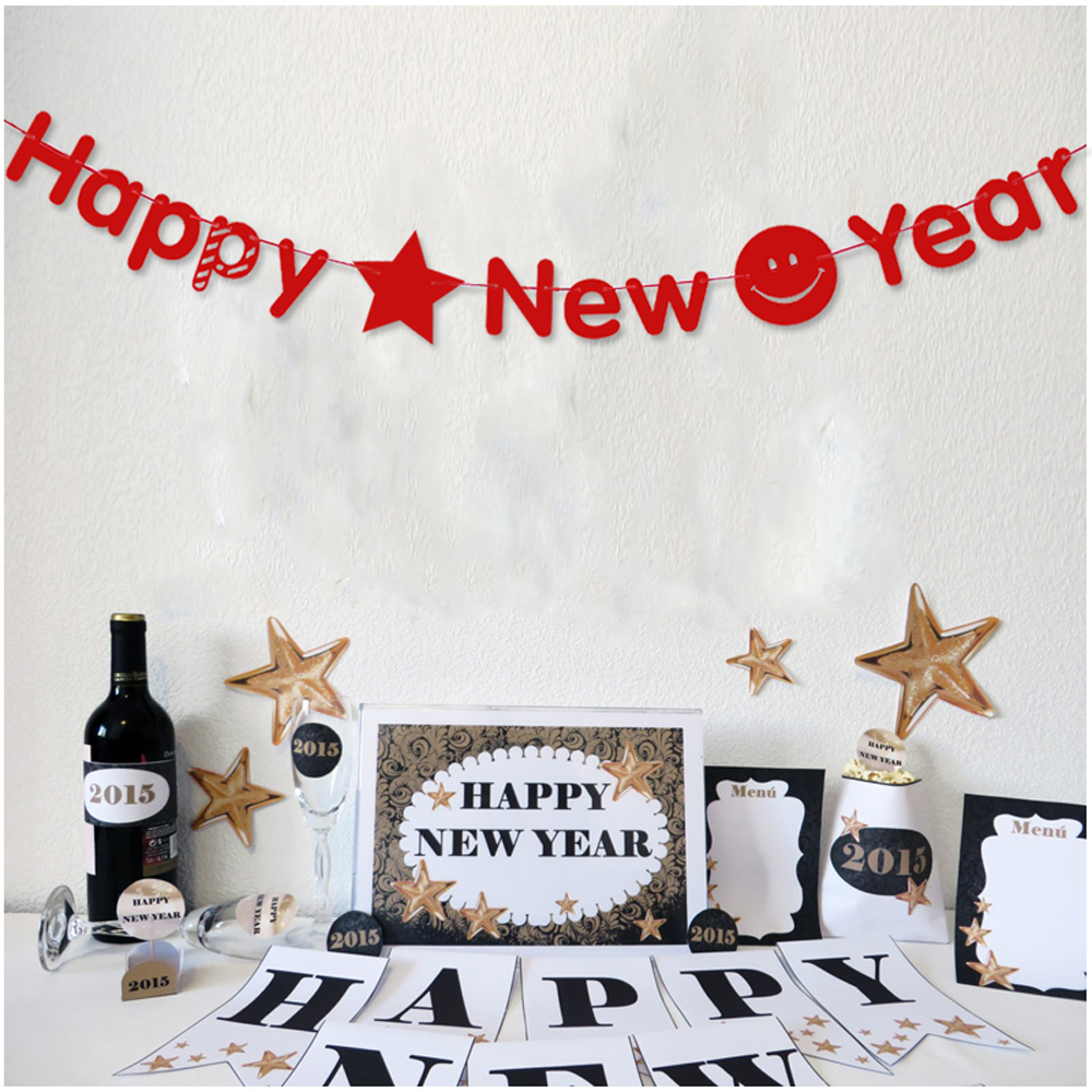 3M Red Happy New Year Letter Banner Paper Flag Garland DIY ...