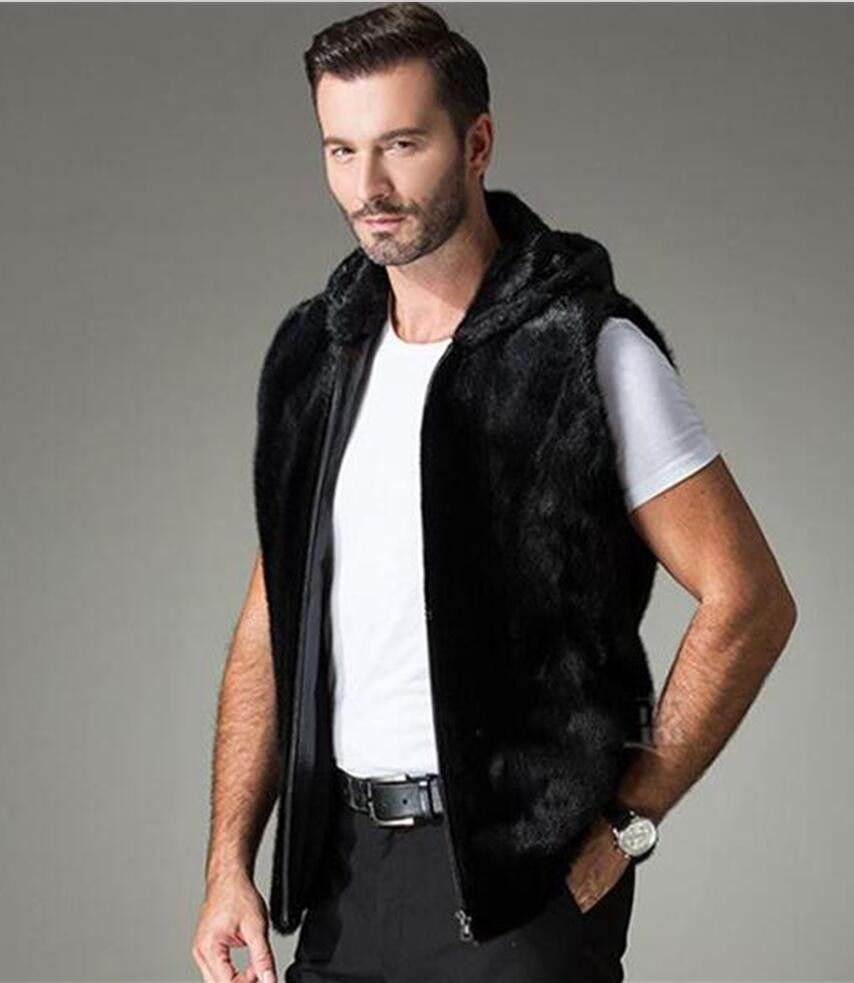 30b000f65bf6 2016 Autumn and winter men's mink coat, Stand collar and hooded men ...