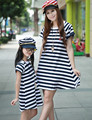 2017 Family matching outfits Spring Autumn Family clothing short sleeve  Mother daughter striped dress Dad boys T-shirts clothes