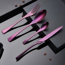 Spklifey Dinnerware Stainless Steel Black Cutlery Set Tableware Silverware Sets Dinner Knife and Fork Drop Shipping