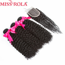Frøken Rola Hair Pre-Colored Peruvian Kinky Curly 3 Bundler Med Closure 100% Human Hair Non-Remy Hair Extensions Natural Color