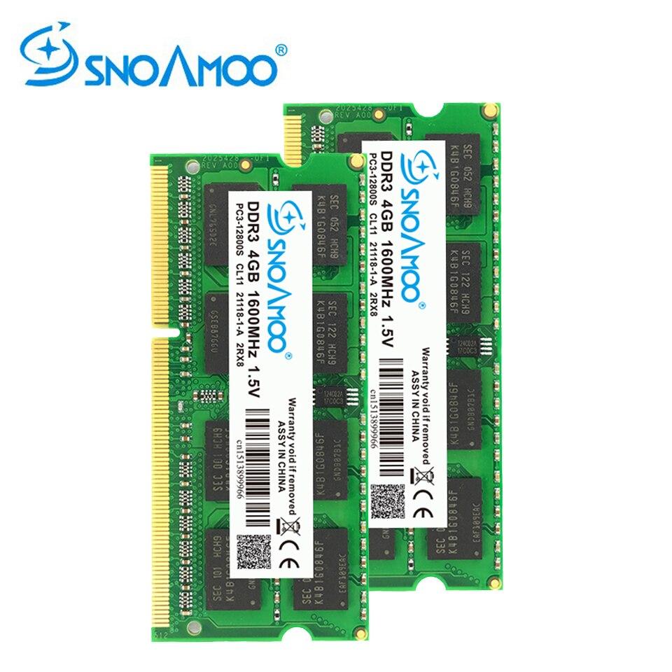 Snoamoo ram ddr3 4 gb 1333/1600 mhz memória do caderno PC3-10600S 204-pino 1.5 v 2rx8 SO-DIMM garantia da memória do computador