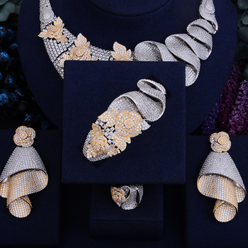 Luxury Shinning Flower Leaf  Bridal Cubic  Jewelry Set 5