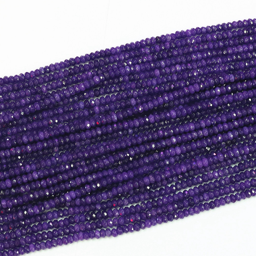 <font><b>Natural</b></font> <font><b>stone</b></font> <font><b>2x4mm</b></font> purple chalcedony jades faceted rondelle abacus diy jewelry loose beads spacer accessories findings 15