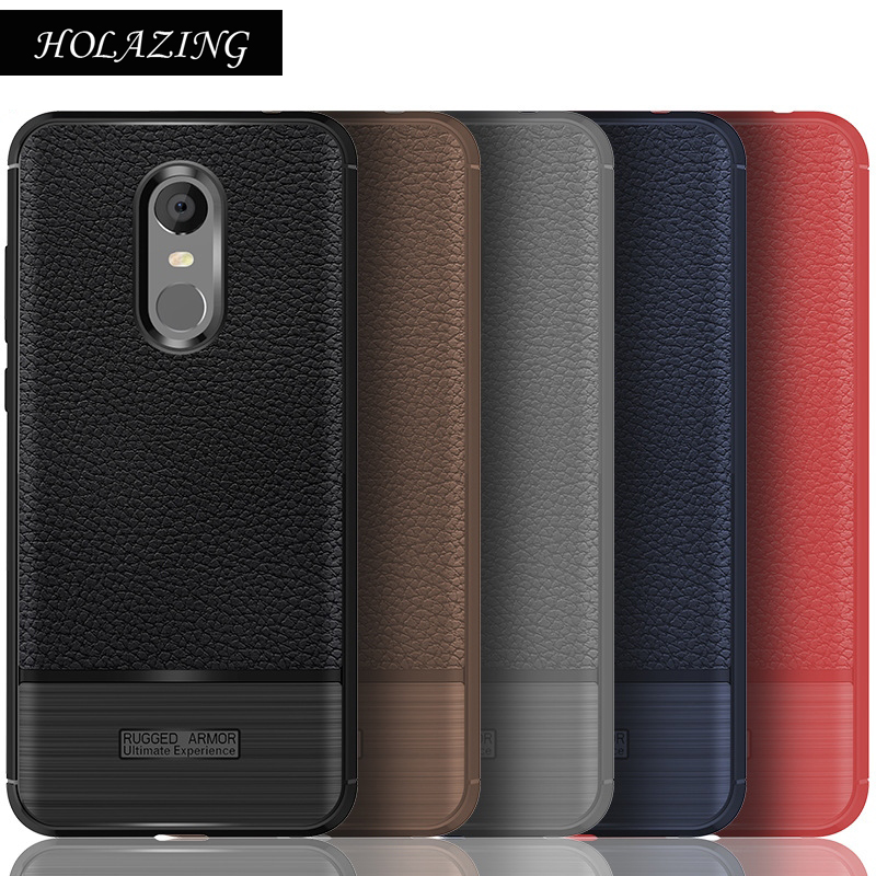 HOLAZING Litchi Pattern Glossy Bamboo Bushed Heavy Protection TPU Silicone Armor Case Cover for Xiaomi Redmi 5 Plus 5.99