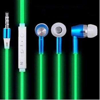 2017 New Glow In The Dark Earphones Luminous Headphones Night Light Glowing Headset In-Ear Stereo Sport Headphone With Mic