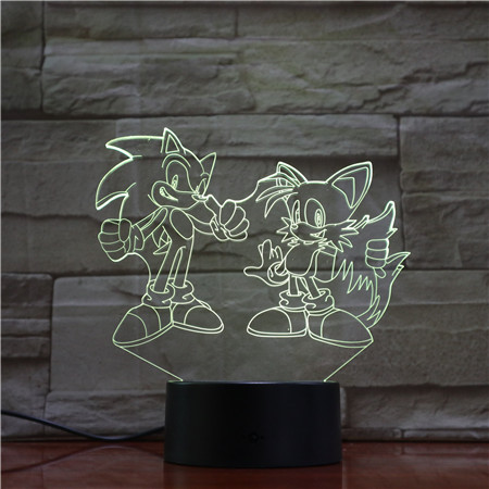 Sonic Action Figure 3D LED Light Table Lamp Changing Anime The Hedgehog Sonic Miles Toy Lighting Home Decor Gifts Dropshipping