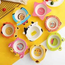 childrens  tableware plate rice bowl Creative cartoon animal shape home baby meal Kindergarten anti-fall Bamboo fiber