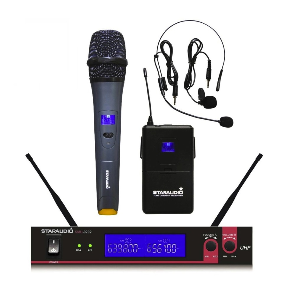 STARAUDIO SMU-0202A+B Pro DJ Stage Church UHF Dual 2 Channel Wireless Handheld and Headset Microphone Mic System
