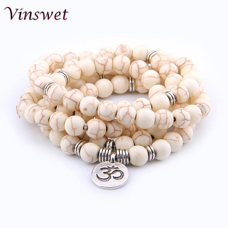 Pulseras 108 Beads Natural Turquois Bracelet Hindu Hinduism Prayer Bead Mala Unisex Men Bracelets & Bangles Jewelry Bijoux