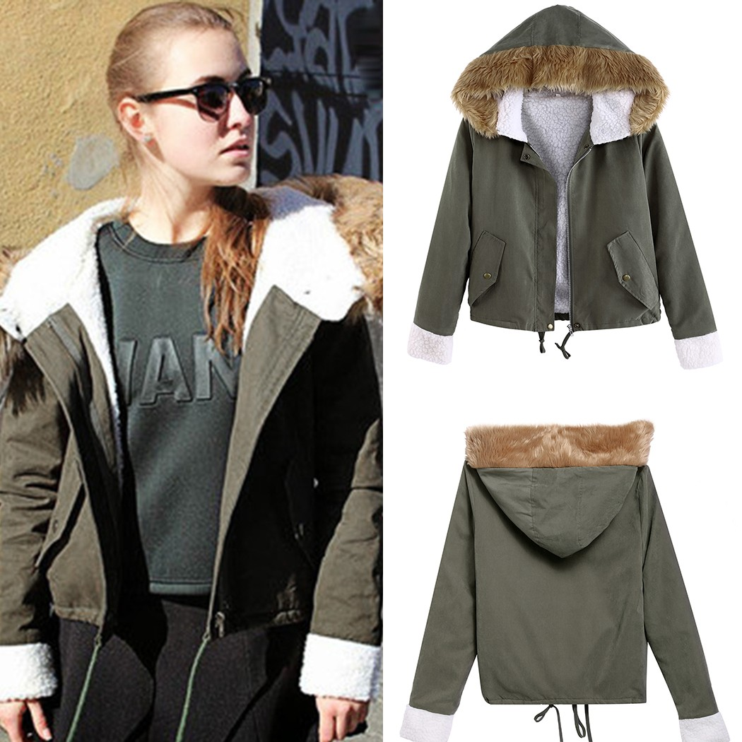 Faux Fur Collar Woman Winter Coats and Jackets Army Green Hooded ...