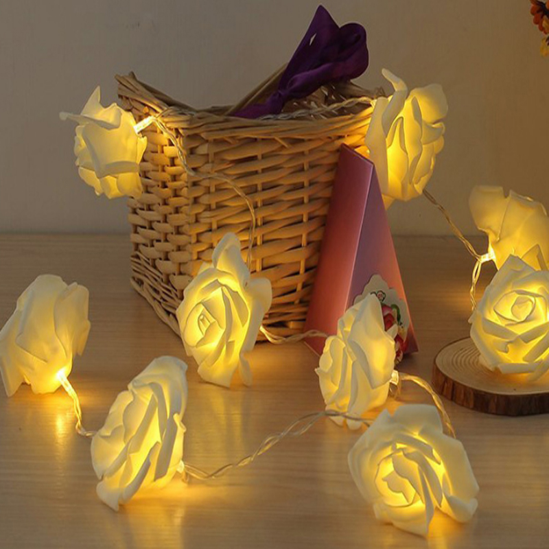 led fairy string 5m 20 rose flower light christmas lamp tree festival holiday decor wedding lights garland garden 220V 110V