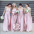 A Line Sweetheart Sleeveless Pink Chiffon Pleated Bodice Cheap Price Long Wedding Party Gowns Bridesmaid Dresses