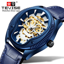 Men Watch Tevise Business Casual Automatic Mechanical Watches Skull 3D Sculpture Waterproof Gift Male Clock Wristwatches