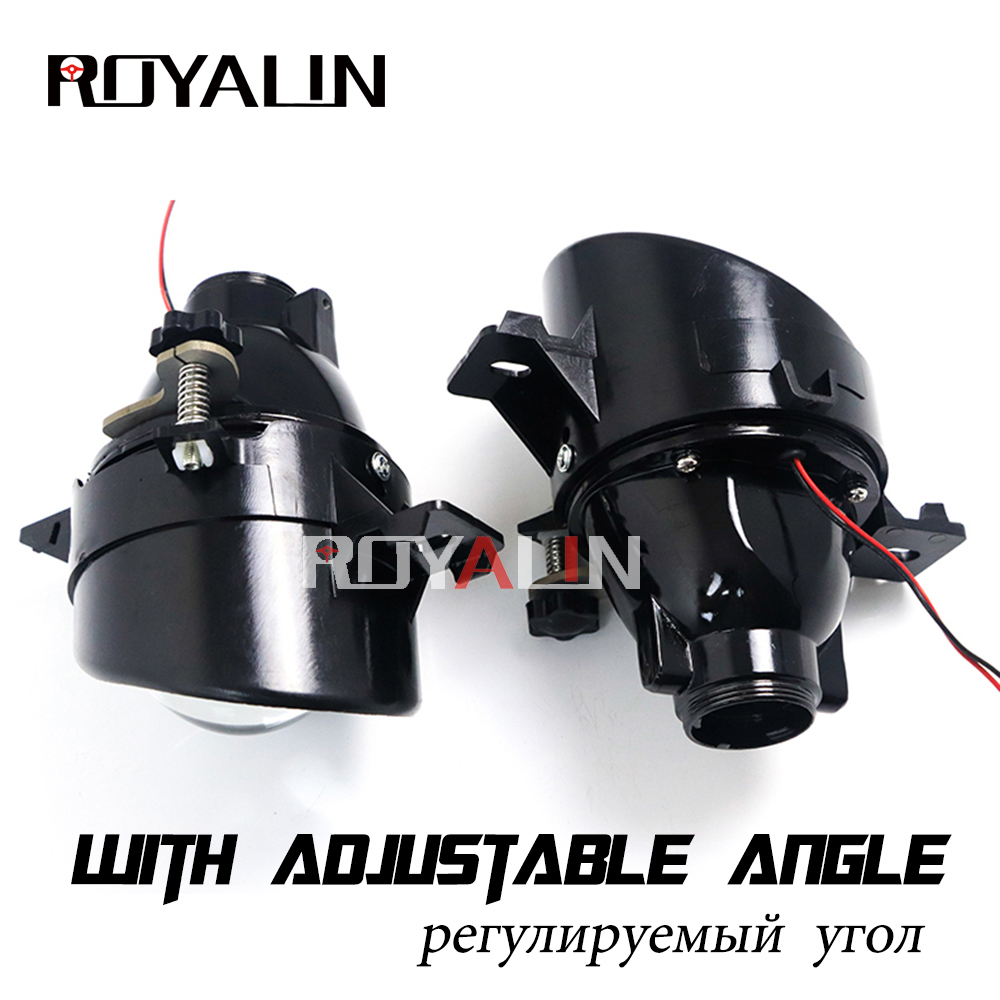 ROYALIN For Nissan Adjustable H11 Fog Lights Lens Bixenon D2S Lamp Projector HID Full Metal Lenses Car Auto D2H Bulbs Retrofit oxygen winner w130