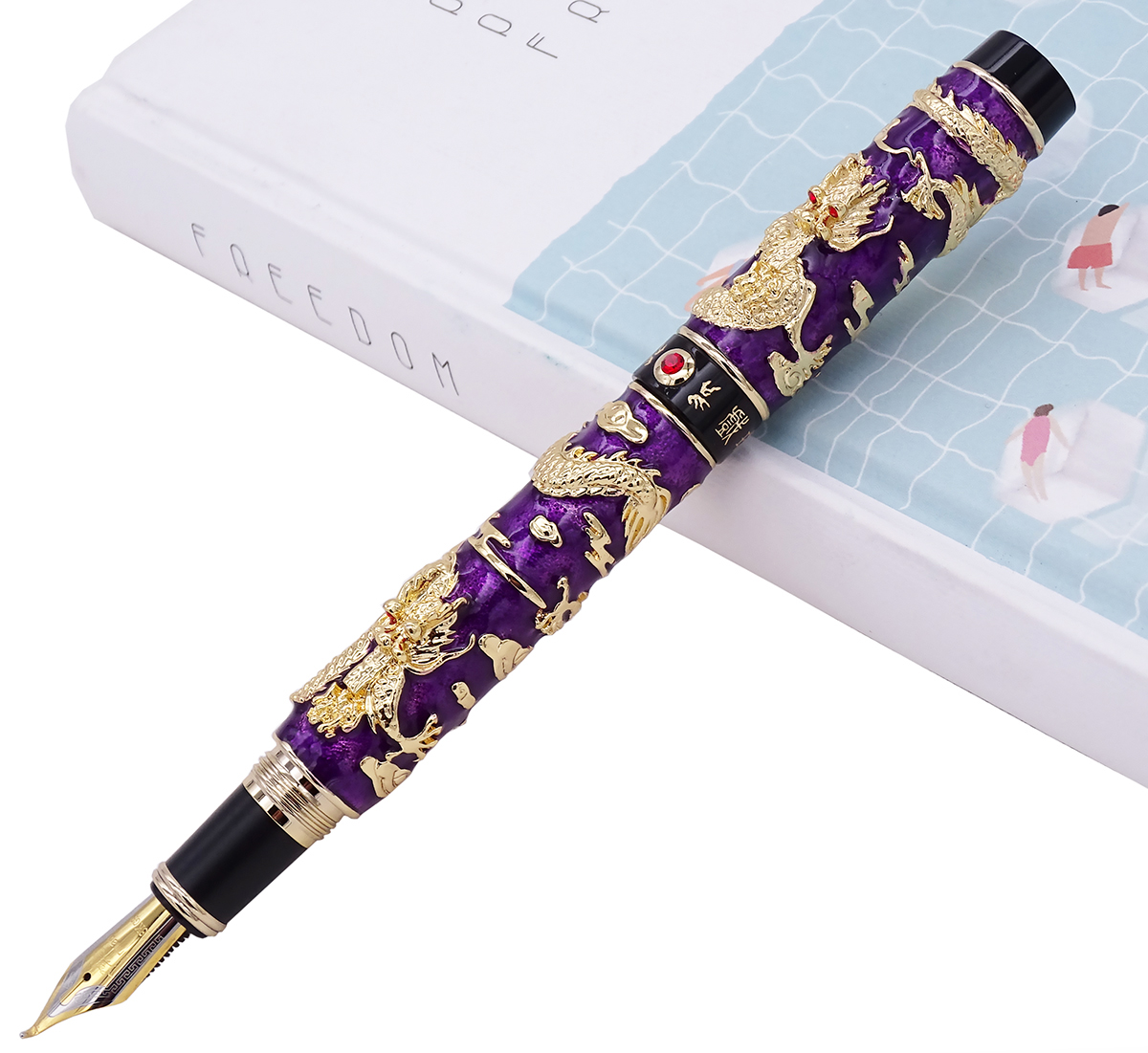 Jinhao Purple Cloisonne Calligraphy Fountain Pen Double Dragon Fude Bent Nib Advanced Craft Writing Gift for Business Office