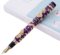Jinhao Purple Cloisonne Calligraphy Fountain Pen Double Dragon Fude Bent Nib Advanced Craft Writing Gift Pen for Business Office