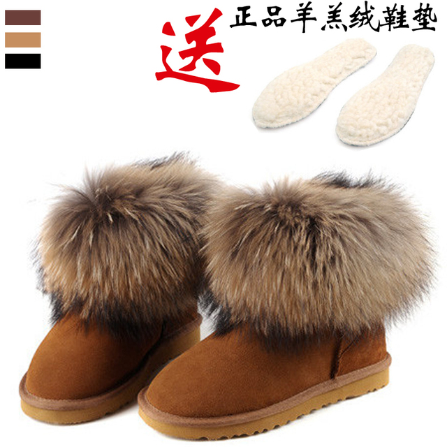 FREE SHIPPING  female winter boots fox fur snow boots cow muscle outsole thermal boots