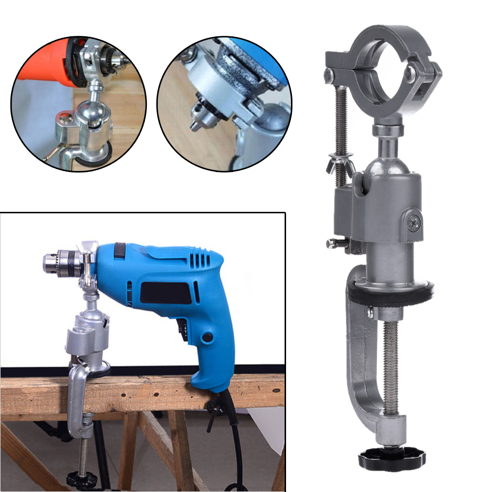 Universal Clamp-on Bench Vises Holder Mini Electric Drill Stand Make the Grinder Flat 360 Rotating for Woodworking Aluminium ...
