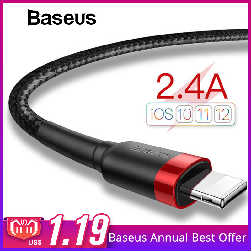 Baseus Classic USB Cable for iPhone xs max Charger USB Data Cable for iPhone X 8 6 6s 2.4A USB Charging Cable Phone Cord Adapter 3 in 1 kit stripe pattern 30 pin interface charging and data transfer cable with us standard power adapter and car charger for iphone 4 4s