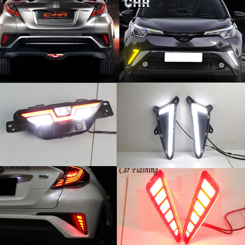 Car Rear 12V LED Fog Tail Bumper Light For Toyota CHR C-HR 2016-2018
