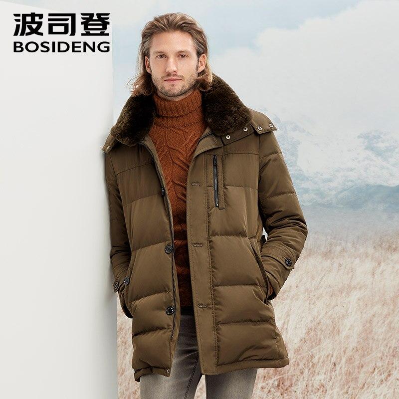 BOSIDENG новый мужской пуховая куртка для мужчин среднего длинное пальто с капюшоном настоящий природный кроличий мех воротник зима Сгущает ...