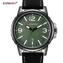 2016 Longbo moda casual popular marca ejército reloj de cuarzo impermeable correa de cuero de lujo relojes de hombre gran dial relogio masculino