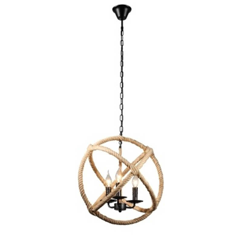 Нордическая пеньковая веревка земля подвесной светильник Ретро промышленная декоративная подвесная панель освещения Американский Железный светодиодный ресторанный светильник