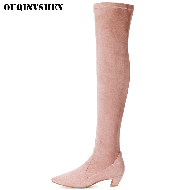 OUQINVSHEN Flock Over The Knee Womens Boots Pointed Toe Thigh High Ladies Boots Casual Fashion Winter Faux Suede Slim Boots