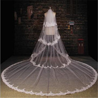 White Ivory 3.5M LengthThree Meters Width 3.5m*3m Embroidered Lace Applique Lace Wedding Veil Long Bridal Veil