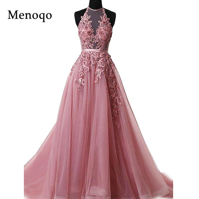 Robe De Soiree Appliques Sexy Backless Long Evening Dresses Bride Banquet Elegant Floor-length Women's Party Prom Dress Halter