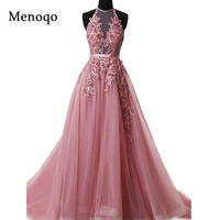 Robe De Soiree Appliques Sexy Backless Long Evening Dresses Bride Banquet Elegant Floor length Women's Party Prom Dress Halter
