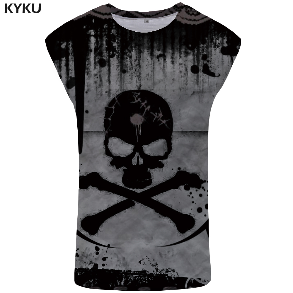 KYKU Skull   Tank     Top   Men Devil Singlet Hip Hop Undershirt Casual Ftness Clothing Stringer Vest Sleeveless Shirt Man Anime