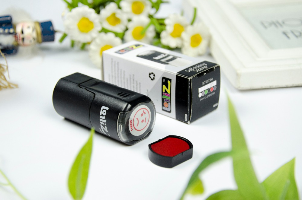 LolliZ Stamp SAD FACE Round Self-Inking Teacher Stamp with Lid. RED Color, Laser Engraved Rubber 10 digit 9 wheels gray light blue rubber band self inking numbering stamp