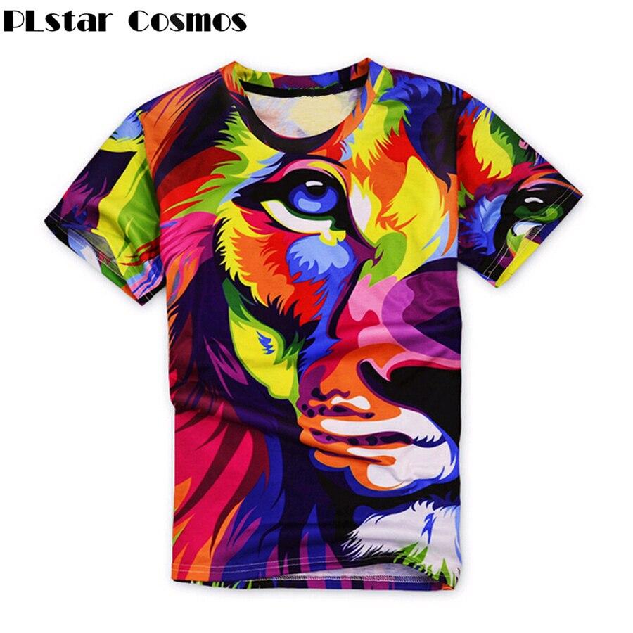 PLstar Cosmos 2017 summer new style Fashionl t shirt LIONS animal 3D print Men Women t shirt casual hip hop tops Drop shipping