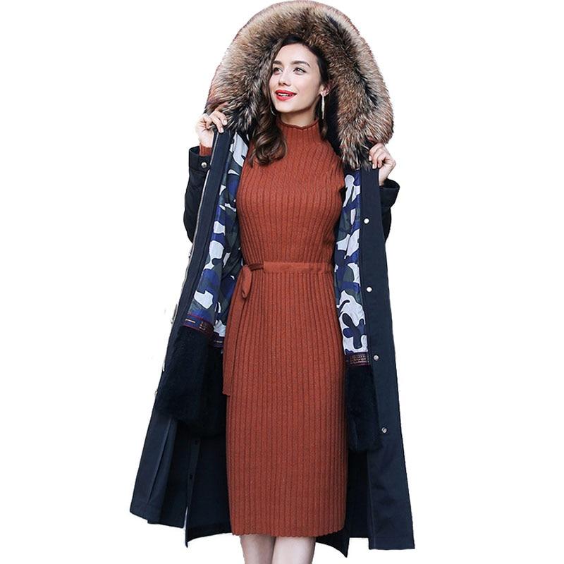 Мех куртка Паркера женские 2018 г. новые зимние с мехом кролика лайнер пальто енотовидная собака меховой воротник с капюшоном Паркерс Большие