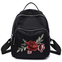 Newly Backpack Women Embroidery Floral Backpacks School Bags for Teenage Girls Casual Black Travel Backpack mochila