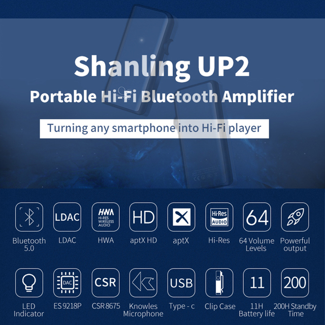 SHANLING UP2 ES9218P Hi-Res Portable HiFi Audio Bluetooth Amplifier USB DAC Knowles Microphone support LDAC/aptX HD/SBC/AAC HWA 2