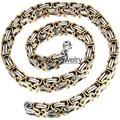 New 8mm Width Gold Silver Tone Stainless Steel Necklace Byzantine Box Mens Boys Chain Necklace Chunky Chain Wholesale Jewelry